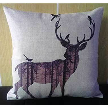 Howarmer Cotton Linen Square Decorative Throw Pillow Case Cushion Cover Dear and Forest 18 x 18