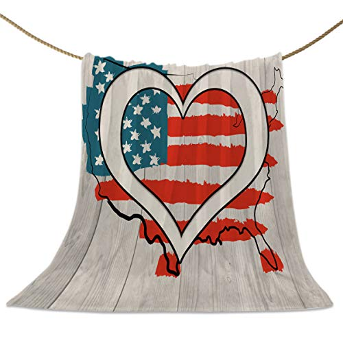 SUN-Shine Luxury Throw Blankets, Wood Board Love Heart American Flag Decor Bedspread, Super Soft Cozy Flannel Fleece Blanket for Stadium Couch Sofa Bed Chair Travel Retro USA World Map (La Hearts Ca Flag Tapestry)