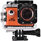 Acouto Waterproof Action Camera 20MP 4K Dual Screen Sport Camera,170 Degree Wide Angle 1050mAh Li-ion Battery Waterproof Housing Case and More Accessories kits (orange)