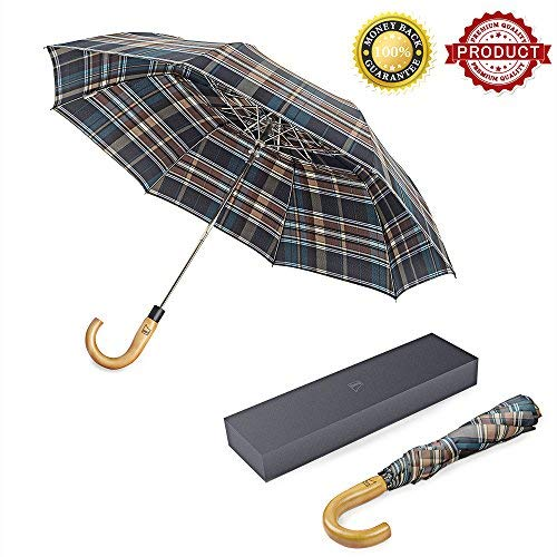 Compact Travel Umbrella with J Wood Handle, boy Plaid Pattern Automatic Open Windproof Large Folding Umbrella with Water Repellent Teflon Coating - Designed in Germany, Brown - Wood Germany