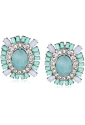 "Carolee LUX ""Cotton Candy"" Rectangular Button Clip-On Earrings"