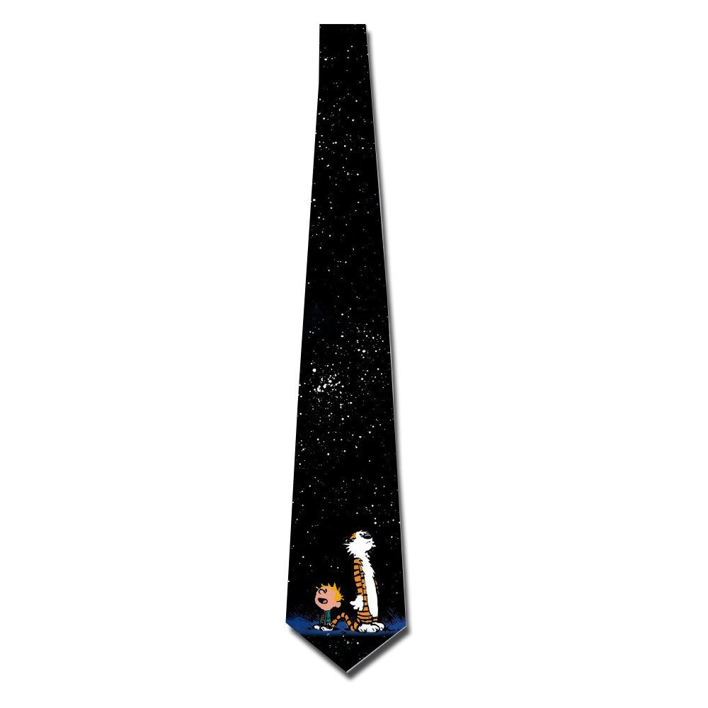 Atoggg Men's Calvin And Hobbes Looking At Stars Skinny Tie Necktie Ties B01FPKSIV2