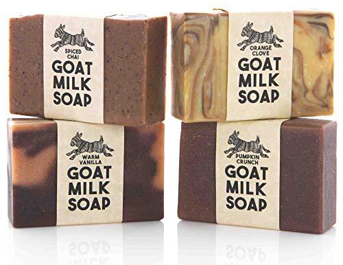 Fall Scented Variety Pack ~ Creamy Goats Milk Soap | All Natural Organic Ingredients | Warm Vanilla, Spiced Chai, Orange Clove & Pumpkin Crunch | SLS, BPA & Paraben Free! Handmade in the USA!