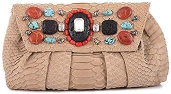 Beads Paris Clutch for Women - Leather, Khaki