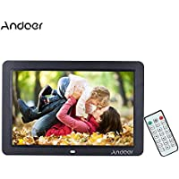 Andoer 12inch Wide Screen Digital Picture Frame HD 1280x800 Frame with Remote Control Multiple Functions Including Clock Calendar MP3 MP4 Movie Player Support Multiple Languages