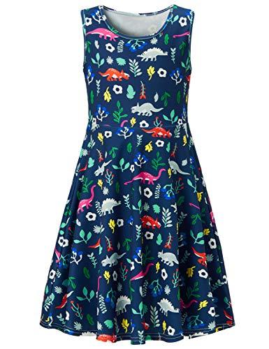 RAISEVERN Girls Sleeveless Dress 3D Print Cute Dinosaur Pattern Navy Blue Summer Dress Casual Swing Theme Birthday Party Sundress Toddler Kids Twirly Skirt, Dinosaur, ()