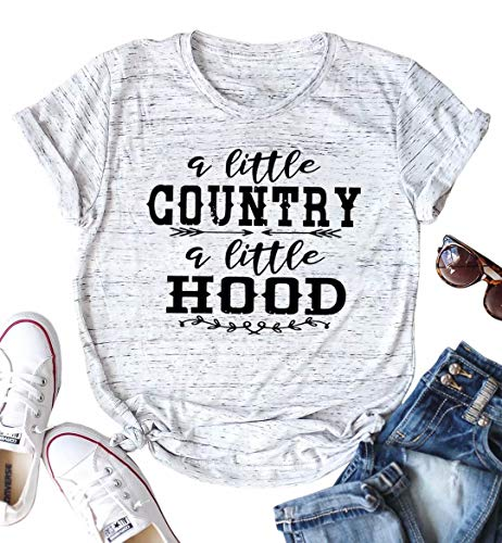 Country Shirt for Women A Little Country A Little Hood Letters Print Casual Tshirt Tops with Funny Sayings Size L (Grey)