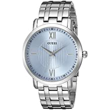 GUESS Men's U0716G1 Classic Silver-Tone Watch with Sky Blue Dial