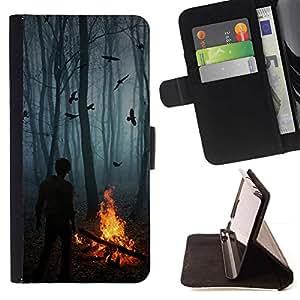 Momo Phone Case / Flip Funda de Cuero Case Cover - Aves Niebla Bosque Oscuro Fuego Spooky - Sony Xperia Z3 Compact