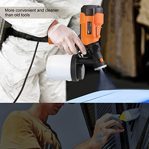 Tacklife SGP15AC Advanced Electric Spray Gun 800ml/min Paint Sprayer with Three Spray Patterns, Three Nozzle Sizes,Adjustable Valve Knob, and Easy Filling 900ml Detachable Container