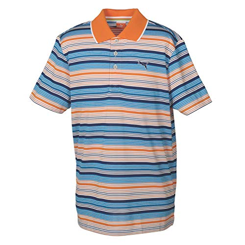 Puma Golf Boy's YD Stripe Polo Tee, White/Vibrant Orange, Medium by PUMA (Image #1)