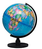 The Flower of Life World Globe - 12.6'' (32cm) Large Desktop Atlas with Stand - A Rotating Earth with Blue Oceans & Political Maps for Educational Geography - Real Modern Look Globes for Kids & Adults