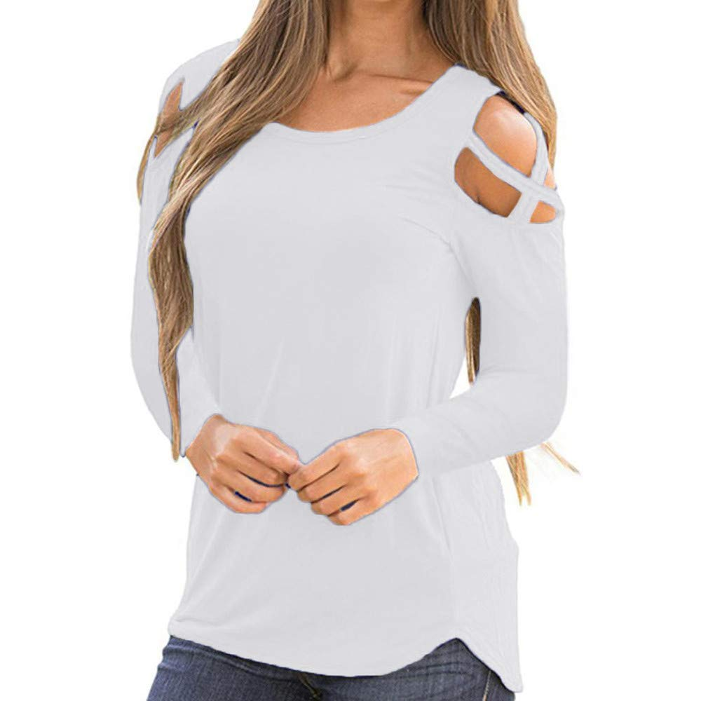 Womens Basic Blouse,KIKOY Long Sleeve Solid Casual Strappy Cold Shoulder Tops