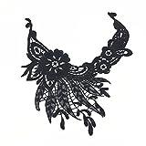 Black Flower Venice Collar Lace Vintage Sew On Craft Trim Applique Patch