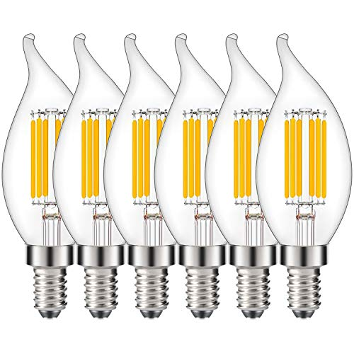 Joddge E12 Candelabra Light Bulb Dimmable C35 Edison LED Chandelier Bulbs 6W Equivalent 60 Watt Incandescent Candle Light No Flicker Clear Glass 2700K Warm White - [UL Listed] (6 Pack) ()