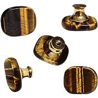 5 Stks Natuurlijke Tijger Oogknoppen Crystal Agaat Stone Knoppen Kast Trekt Art Deco Lade Knoppen Kast Handvatten voor…