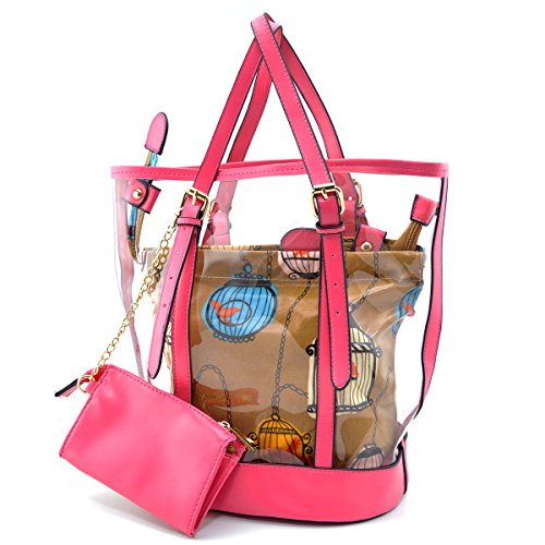 Mn&Sue Pop Art Clear Transparent Jelly Candy Women Casual Shoulder Bucket Tote Bag With Cosmetic Pouch