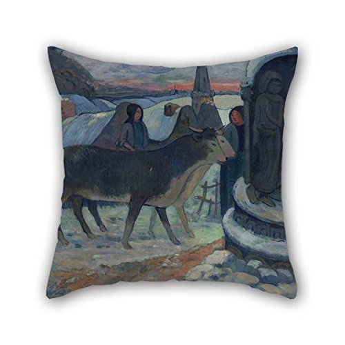 Cushion Covers Of Oil Painting Gauguin, Paul - Christmas Night (The Blessing Of The Oxen) For Dining Room Drawing Room Bench Boys Bar Floor 18 X 18 Inches / 45 By 45 Cm(both Sides) for Christmas