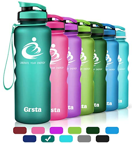 Grsta Sport Water Bottle 40oz(1200ml), Wide Mouth Leak Proof BPA Free Eco-Friendly Plastic Drink Best Water Bottles for Outdoor/Running/Camping/Gym Flip Top Lid & Filter Open with 1-Click (Mint Green)