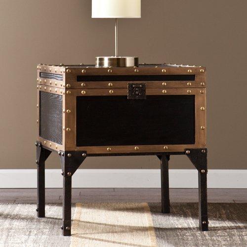 Southern Enterprises Antique (Southern Enterprises Drifton Travel Storage Trunk End Table, Antique Black Finish with Dark Bronze Accents)