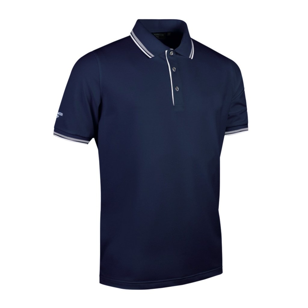 Glenmuir Mens Tipped Short Sleeve Moisture Wicking Polo Shirt