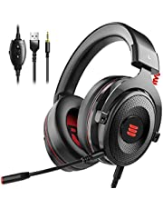 EKSA Gaming Headset PS4/XBox One, Virtual 7.1 & 3,5mm Surround Sound 2 in1 Kabelgebundenes Over-Ear Gaming Kopfhörer mit Abnehmbares Mikrofon, LED-Licht für Laptop, PS4, Xbox one, PC, Smartphone