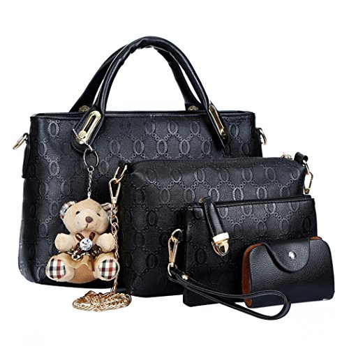 Coofit Borse Donna PU in Pelle Tote Bag Borse a Mano 4 Pezzi