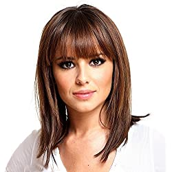 Asifen Medium Length Wigs for Women Human Hair Wigs Mixed High Quality Healthy Styling Memory Fiber(Color 33 Auburn)