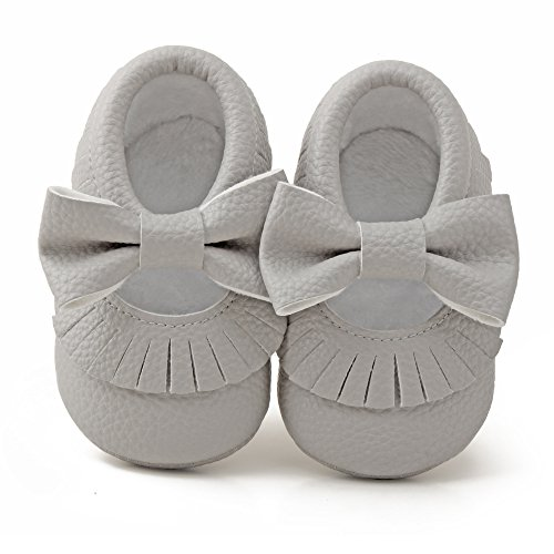 Delebao Infant Toddler Baby Soft Sole Tassel Bowknot Moccasinss Crib Shoes (12-18 Months, Grey)