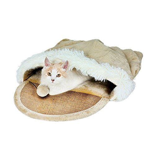 FabSelection Cat Bed Cave Pet Beds Cat House Soft Cat Sleeping Bags with Scratching Board and Toy Ball for Cats, Small Dogs, Squirrel