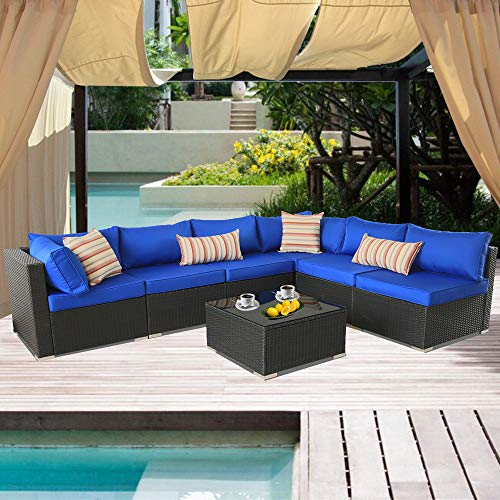 Patio Rattan Sofa 7-Piece Outdoor Wicker Furniture Outside Conversation Couch Deck Seating Black Rattan Royal Blue Cushion