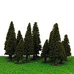 WINOMO 15pcs Green Scenery Landscape Model Cedar Trees