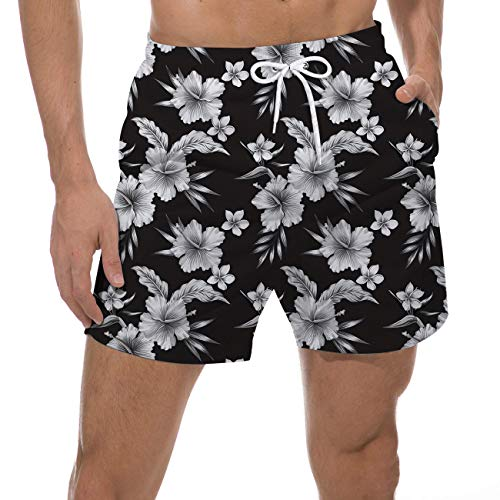 UNICOMIDEA Male Cool Swim Trunks Beautiful White Flowers Watershorts Slim Fit Quick Dry Short Hawaiian Tropical Beach Shorts Summer Party Suits 90s Sports Runnning Swim Board Shorts with Mesh Lining