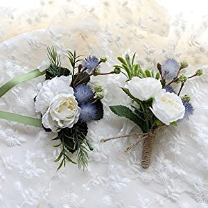 Florashop Satin Rose Dandelion Corsage and Boutonniere Pack Wedding Bridal Bridesmaid Wrist Corsage Band Men's Groom Bridegroom Boutonniere for Wedding Prom Party Homecoming 35