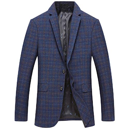 YUNY Men's Lounge Plaid Classic Autumn Retro Blazer Jacket Blue M by YUNY