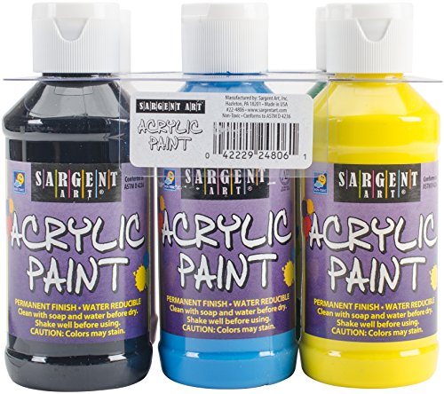 Sargent Art 22-4806 Primary Acrylic Paint Set, 4 Ounce, 6-Pa