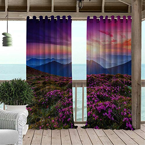 - Linhomedecor Patio Waterproof Curtain Romantic Sunset Lavender Hillside Sky Porch Grommet Party Curtains 96 by 72 inch