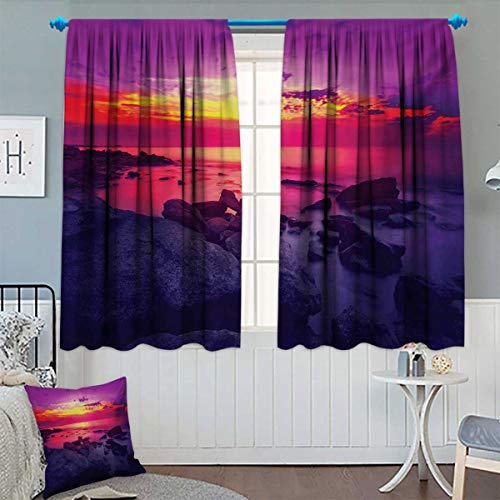 (Chaneyhouse Americana Patterned Drape for Glass Door Dramatic Sunset Over The Sea Tropical Beach Summer Idyllic Scenery Image Waterproof Window Curtain 55