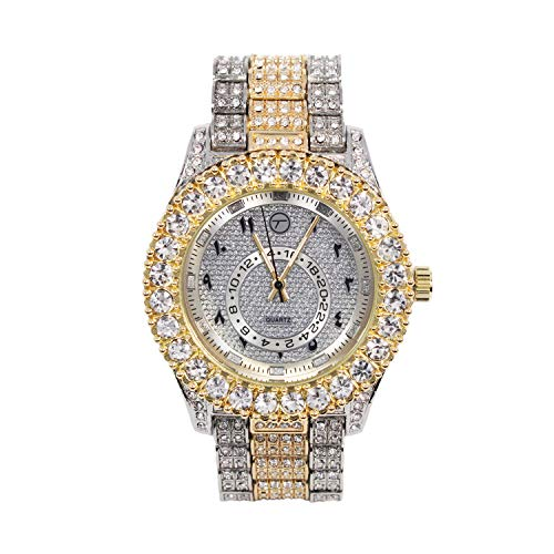 Mens Classic Bling-ed Out Arabic Dial Two-Tone Gold and Silver Watch with Simulated Lab Diamonds | Japan Movement