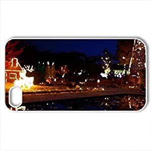 christmas at night - Case Cover for iPhone 4 and 4s (Watercolor style, White)