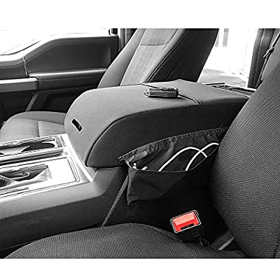 BASIKER Auto Console Lid Covers for Ford F-150 Raptor Truck 2002-2020 Center Console Armrest Cover Gray Waterproof Cloth with Pocket: Automotive