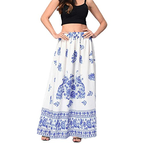 Familizo?? Femmes Boho Maxi Longue Jupe, Floral Jupe Taille Haute Bleu