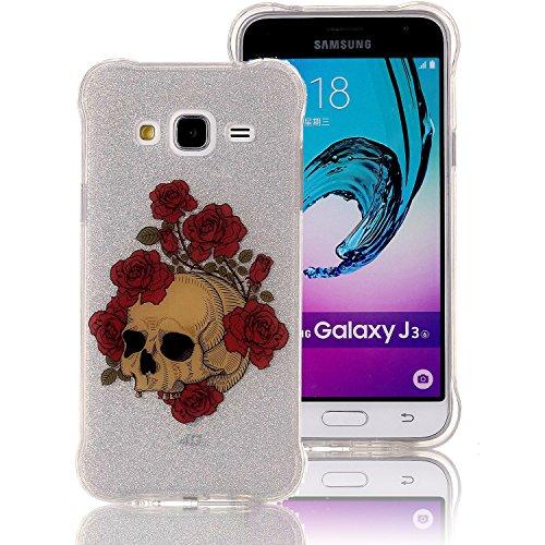 Funda Galaxy J3 (2016) , Extremamente Fina y Ligera de Perfecta para Samsung J3 (2016) la Más Delgada Glitter Funda TPU Silicona Protectora de Parachoques con una Cubierta Trasera Semitransparente Caj B-04