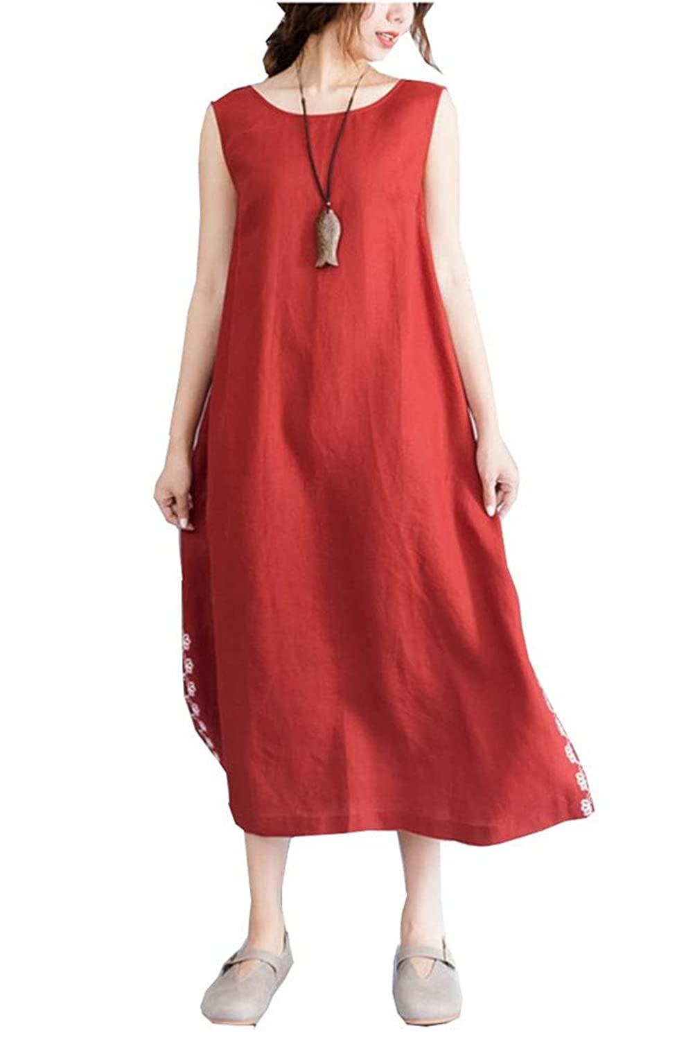 a60e9a157e7ec Material:100% cotton and linen,vintage chinese style,with pocket,round neck.  Color:orange red,special and fashion,wash hand or machine,but butter hand  wash ...