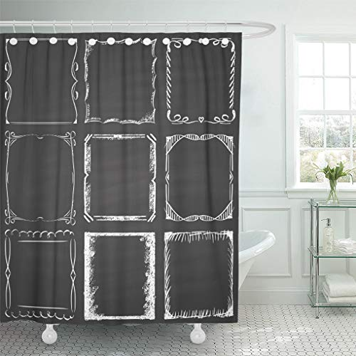 Emvency Shower Curtain White Border of Nine Frames Chalk on Blackboard Black Chalkboard Shower Curtains Sets with Hooks 72 x 78 Inches Waterproof Polyester Fabric ()