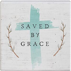 "Simply Said, INC Small Talk Sign 5.25"" Wood Block Plaque STS1301 - Saved by Grace"