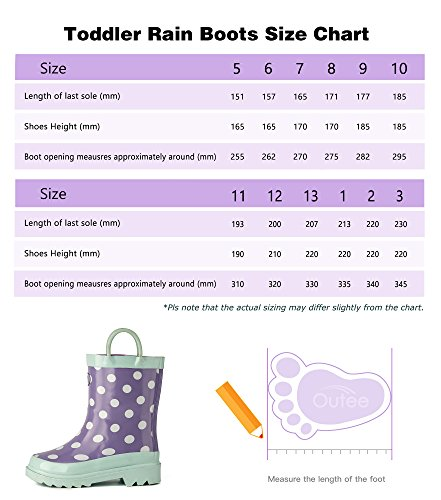 Pictures of Outee Toddler Girls Kids Rain Boots Rubber GLR17BDOTPUR7 2