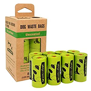 Poop Bags Biodegradable, 8 Rolls/120 Counts, Dog Waste Bags, Refill Rolls Unscented Compostable Bags, Leak-Proof, Easy Tear-Off