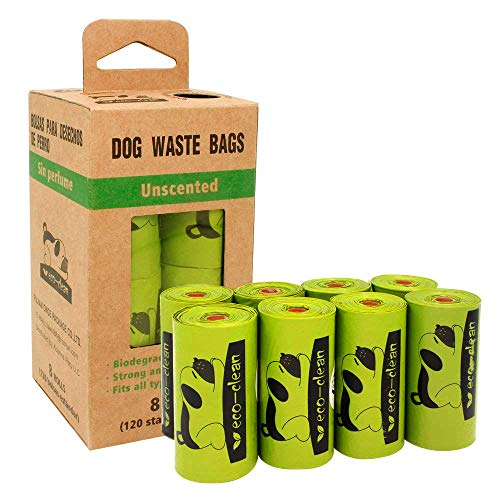 Poop Bags Biodegradable, 8 Rolls/120 Counts, Dog Waste Bags, Refill Rolls Unscented Compostable Bags, Leak-Proof, Easy…