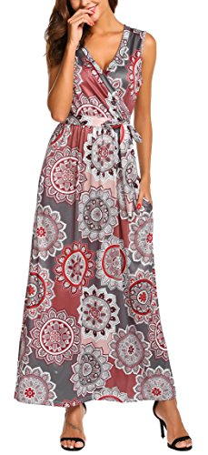 Plus Size Petite Maxi Dresses for Women,Sleeveless Summer Casual Bohemian Beach Vacation Long Dress Wrap V Neack Tank Maxi Dress with Pockets (Coffee,XXL)